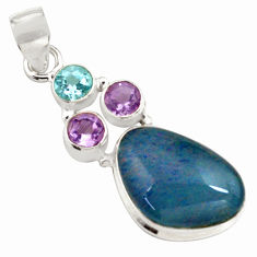 925 silver 13.27cts natural blue australian opal triplet amethyst pendant p79699