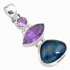 925 silver 13.09cts natural blue australian opal triplet amethyst pendant p79712