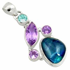925 silver 16.54cts natural blue australian opal triplet amethyst pendant p79727