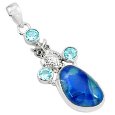 925 silver 14.43cts natural blue australian opal triplet owl pendant p69484