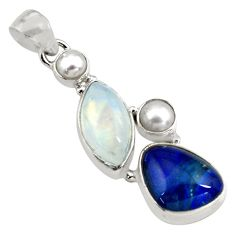 925 silver 16.54cts natural blue australian opal triplet pearl pendant p79704