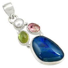 925 silver 13.66cts natural blue australian opal triplet pearl pendant p79738