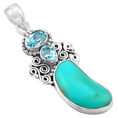 925 silver 12.36cts natural blue campitos turquoise topaz pendant jewelry p84734