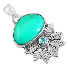 925 silver 13.27cts natural blue campitos turquoise topaz pendant p90286