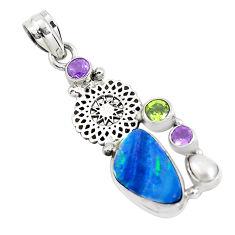 925 silver 9.63cts natural blue doublet opal australian amethyst pendant p51908