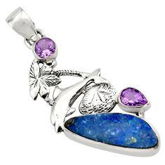 925 silver 10.01cts natural blue doublet opal australian dolphin pendant p79667