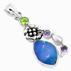 925 silver 7.12cts natural blue doublet opal australian flower pendant p58054