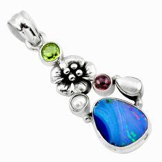 925 silver 6.89cts natural blue doublet opal australian flower pendant p58060