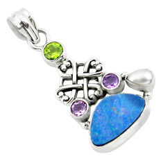 925 silver 8.03cts natural blue doublet opal australian peridot pendant p58043