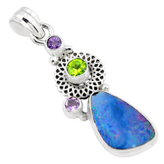 925 silver 6.89cts natural blue doublet opal australian peridot pendant p58051