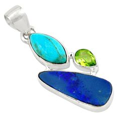 925 silver 11.07cts natural blue doublet opal australian peridot pendant p79661