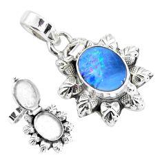 925 silver natural blue doublet opal australian poison box pendant p44958