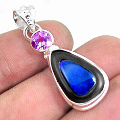 925 silver 12.62cts natural blue doublet opal in onyx amethyst pendant p53724
