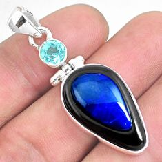 925 silver 15.55cts natural blue doublet opal in onyx blue topaz pendant p53575