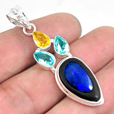 925 silver 14.40cts natural blue doublet opal in onyx citrine pendant p53667