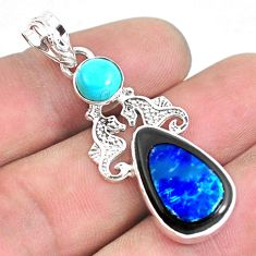925 silver 13.66cts natural blue doublet opal in onyx seahorse pendant p53716