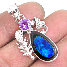 925 silver 13.66cts natural blue doublet opal in onyx seahorse pendant p53720