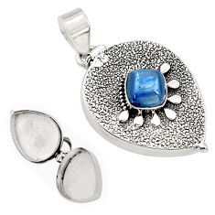 925 silver 3.70cts natural blue kyanite cushion shape poison box pendant p79964