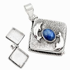925 silver 4.64cts natural blue kyanite poison box dolphin pendant p79950