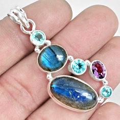 925 silver 17.81cts natural blue labradorite amethyst topaz pendant p33775