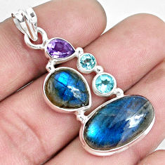 925 silver 17.36cts natural blue labradorite amethyst topaz pendant p33799