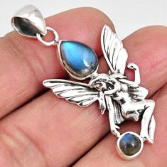925 silver 3.56cts natural blue labradorite angel wings fairy pendant p90216