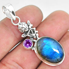 925 silver 14.39cts natural blue labradorite cupid angel wings pendant p55405
