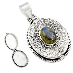 925 silver 4.50cts natural blue labradorite oval poison box pendant p79911