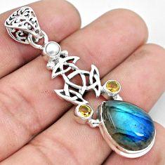 925 silver 12.62cts natural blue labradorite yellow citrine pearl pendant p59680