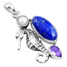 925 silver 11.02cts natural blue lapis lazuli amethyst seahorse pendant p42111