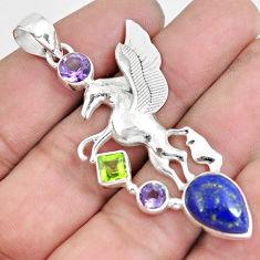 925 silver 9.23cts natural blue lapis lazuli amethyst unicorn pendant p59312