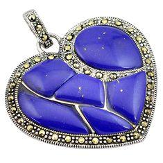 925 silver 15.82cts natural blue lapis lazuli marcasite heart pendant c4411