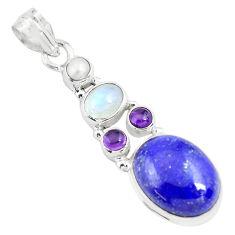 925 silver 13.27cts natural blue lapis lazuli moonstone garnet pendant p70429
