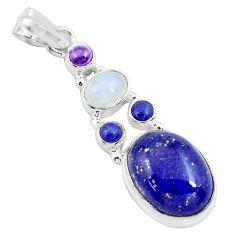 925 silver 14.12cts natural blue lapis lazuli moonstone garnet pendant p70448