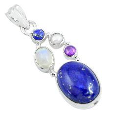 925 silver 14.63cts natural blue lapis lazuli moonstone pearl pendant p64356