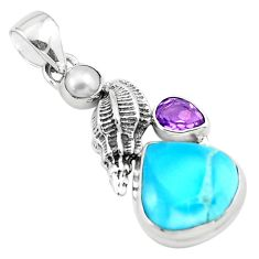 925 silver 9.37cts natural blue larimar amethyst pearl pendant jewelry p80439