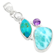 925 silver 16.20cts natural blue larimar arizona mohave turquoise pendant p80414