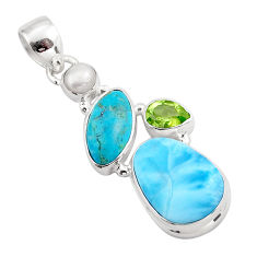 925 silver 15.55cts natural blue larimar peridot pearl pendant jewelry p88964