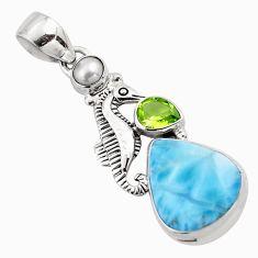925 silver 14.72cts natural blue larimar peridot pearl seahorse pendant p88993