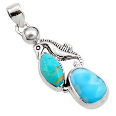 925 silver 14.72cts natural blue larimar white pearl seahorse pendant p88983