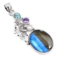 925 silver 17.67cts natural blue owyhee opal amethyst feather pendant p49525