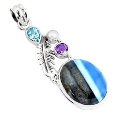 925 silver 16.92cts natural blue owyhee opal amethyst feather pendant p49535