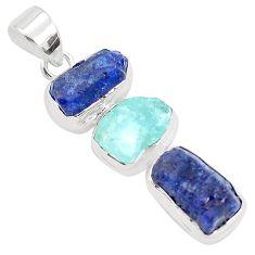 925 silver 19.00cts natural blue sapphire rough aquamarine rough pendant p35299