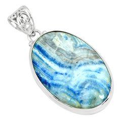 925 silver 25.60cts natural blue scheelite (lapis lace onyx) oval pendant p66309