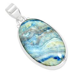 925 silver 21.48cts natural blue scheelite (lapis lace onyx) oval pendant p66320