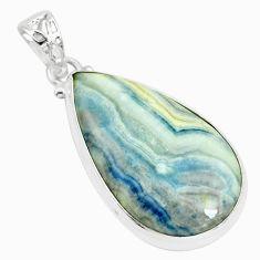 925 silver 22.02cts natural blue scheelite (lapis lace onyx) pear pendant p66314