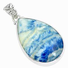 925 silver 29.34cts natural blue scheelite (lapis lace onyx) pendant p66307