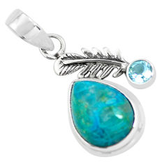 925 silver 10.60cts natural blue shattuckite topaz feather charm pendant p55324