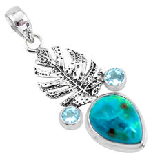 925 silver 12.72cts natural blue shattuckite topaz feather charm pendant p55340