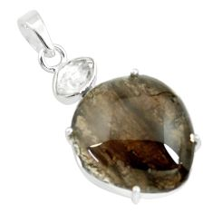 925 silver 18.14cts natural brown agni manitite herkimer diamond pendant p70875